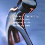 Roy DeHaan Carpentry business card