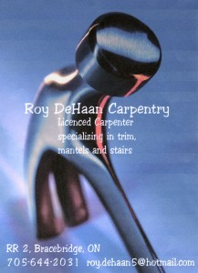 Roy DeHaan Carpentry business card
